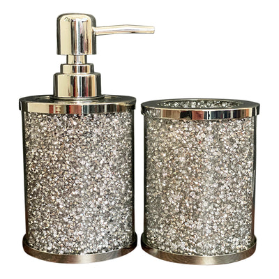 Soap Dispenser and Toothbrush Holder in Gift Box, Silver Crushed Diamond Glass