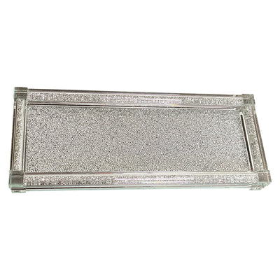 Silver Crushed Diamond Glass Tray in Gift Box