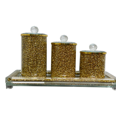 Three Canisters and Tray Gift Set, Gold Crushed Diamond Glass