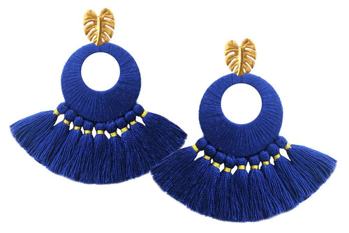 Navy Florentine Earrings - JETLAGMODE