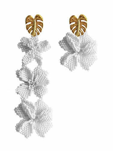 Asymmetrical White Garden Earrings - JETLAGMODE