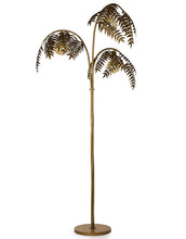 Load image into Gallery viewer, Antique Gold Palm Leaf Floor Lamp