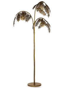 Antique Gold Palm Leaf Floor Lamp