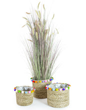 Load image into Gallery viewer, Set of 3 Pom Pom Basket Planters / Storage Baskets
