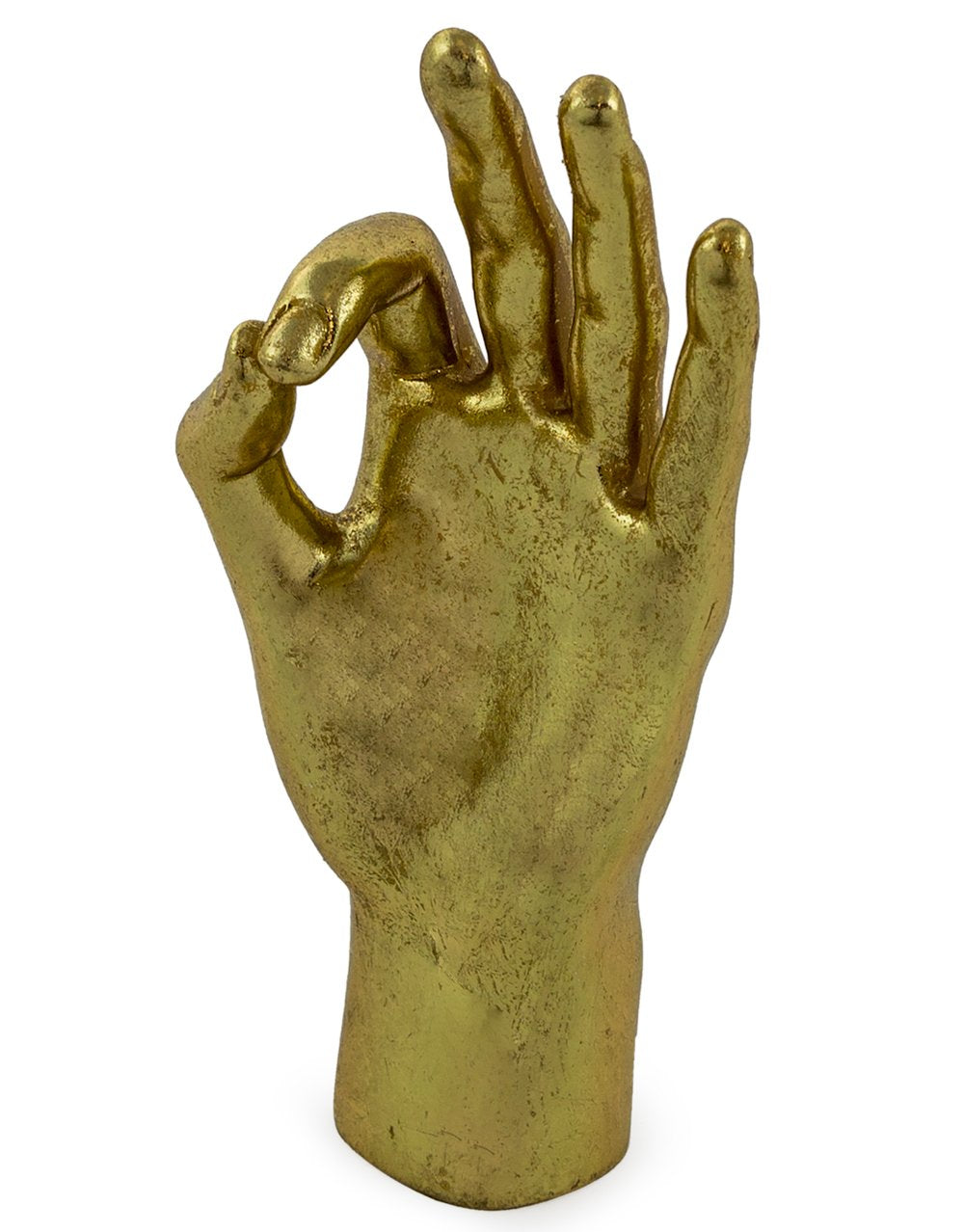 gold ok hand giving us life, talisman to make us feel ok, 15cm tall, resin gold leaf, ok rock on hand gesture symbol