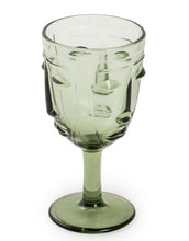 Load image into Gallery viewer, Pair Green Face Wine Glasses