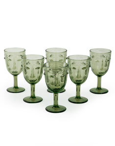 Pair Green Face Wine Glasses