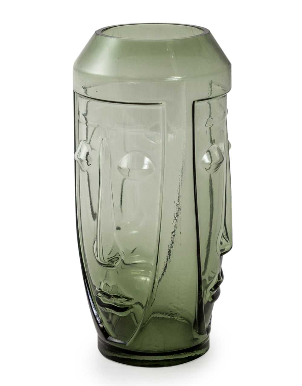 Tall Green Glass Face Vase