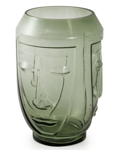 Green Glass Face Vase