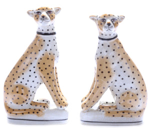 Ceramic Sitting Leopards - PAIR