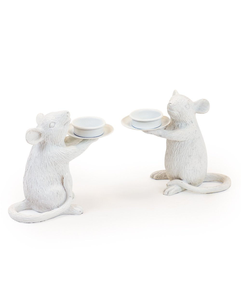 White Mice Tea Light Holders set of two