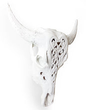 Load image into Gallery viewer, White Carved Bison Skull