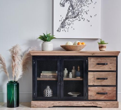 Baxter Reclaimed Wood and Metal Sideboard