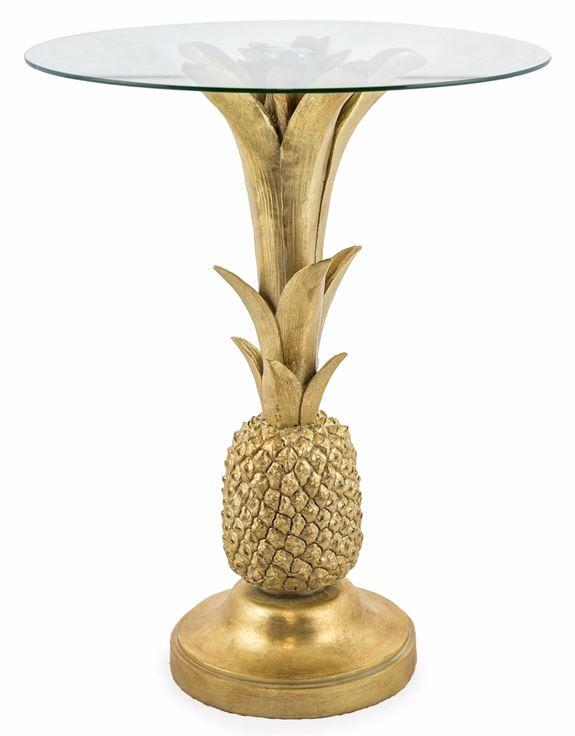 Gold Pineapple Glass Top Side Table