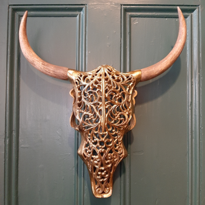 Antique Gold and Wood Tribal Bison Wall Head