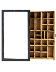 Antiqued Black Wooden Wall Display Cabinet