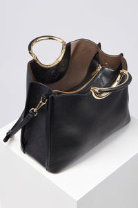 Amelie Black Triple Compartment Tote