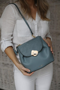 Cleo Blue Small Cross Body Handbag Model View
