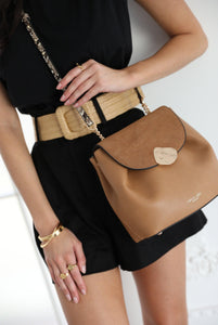 Cleo Tan Small Cross Body Handbag Model View