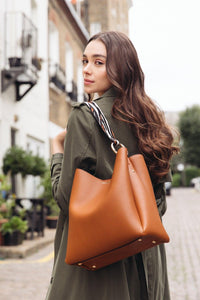 Isadora Tan Hobo with Tiger Print handle