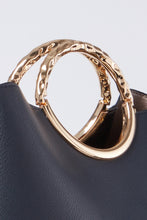 Load image into Gallery viewer, Olivia Navy Triple Compartment Bag Molten handle View