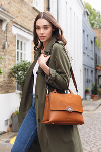 Tabitha Tan Top Handle Cross Body Bag - AS FEATURED IN THE DAILY MAIL