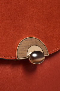 Melissa Rust Purse Wooden Lock View
