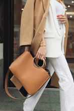 Load image into Gallery viewer, Olivia Camel Triple Compartment Bag Model View