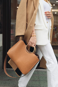 Olivia Camel Triple Compartment Bag Model View