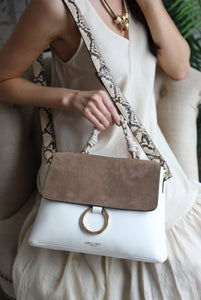 India Putty/White Rope Handle Cross Body Bag Model View