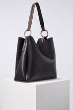 Load image into Gallery viewer, Isadora Black Soft Large Hobo Side View