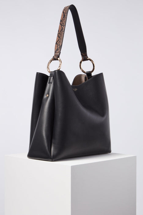 Isadora Black Soft Large Hobo Side View