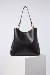 Isadora Black Hobo With Reptile Print Handle