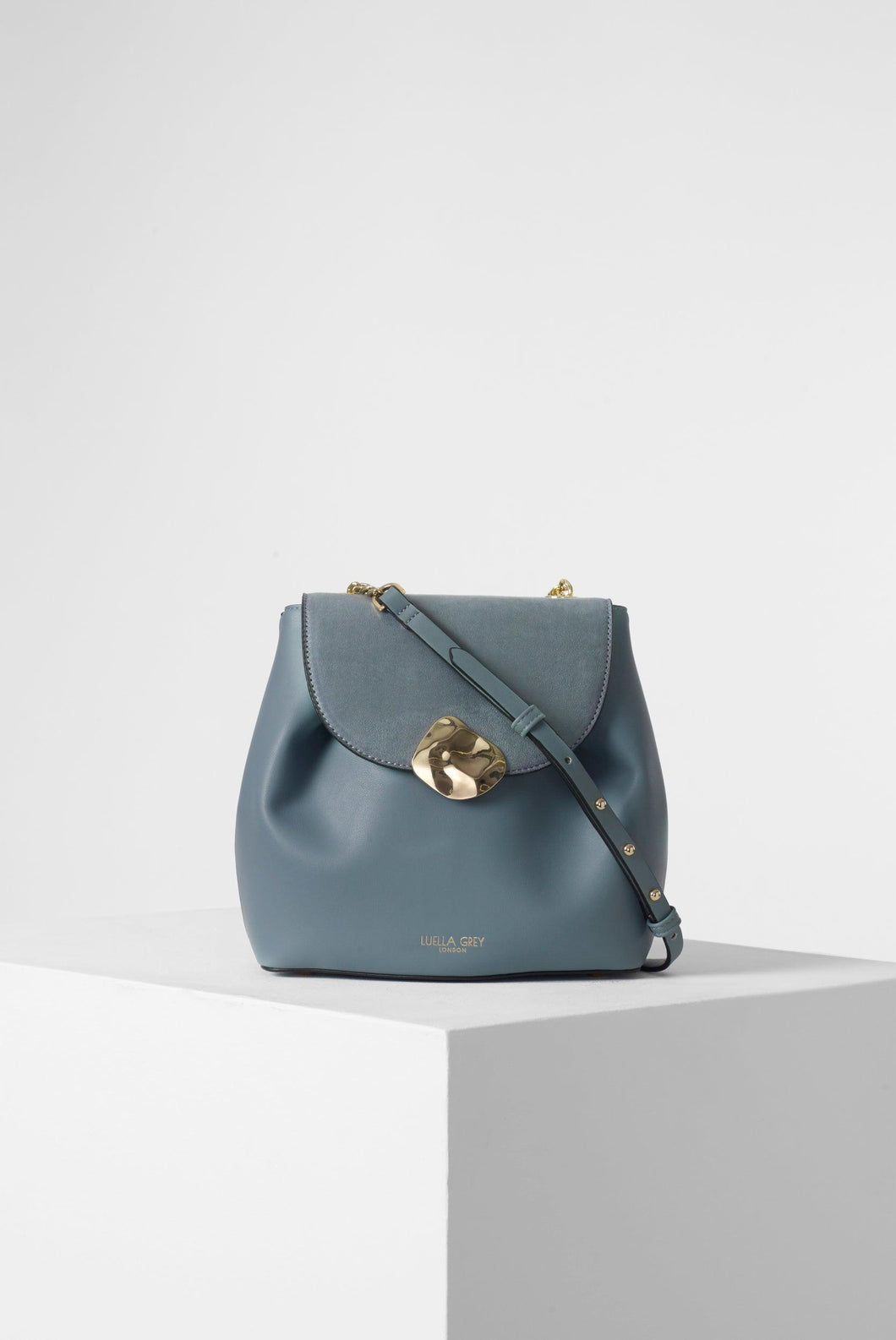 Cleo Blue Small Cross Body Handbag Front View