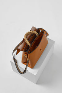 India Tan Rope Handle Cross Body Bag Top View
