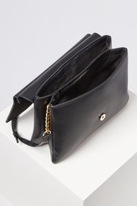 Megan Black Sculptured Lock Cross Body