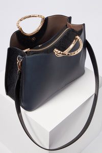 Olivia Navy Triple Compartment Tote
