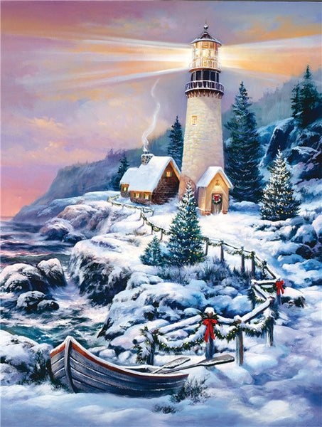 Snowy Lighthouse Diamond Painting
