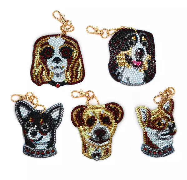 Dog Diamond Painting Keychains
