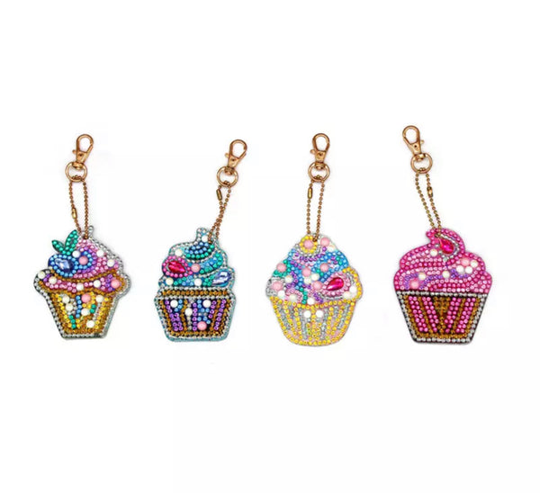 Cupcake Diamond Painting Keychains