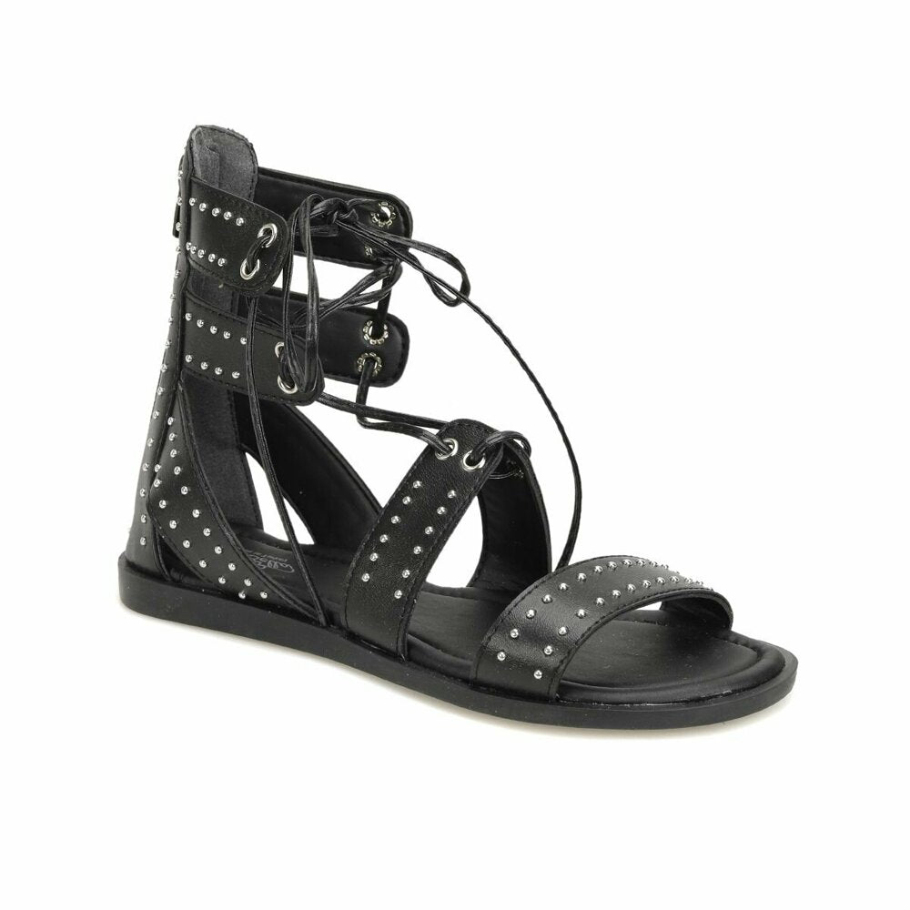 Women's Black Patterned Sandals
