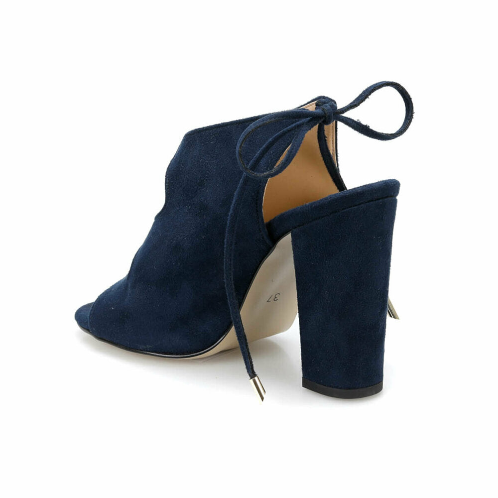 Women's Navy Blue Sling Back Peep Toe Shoes