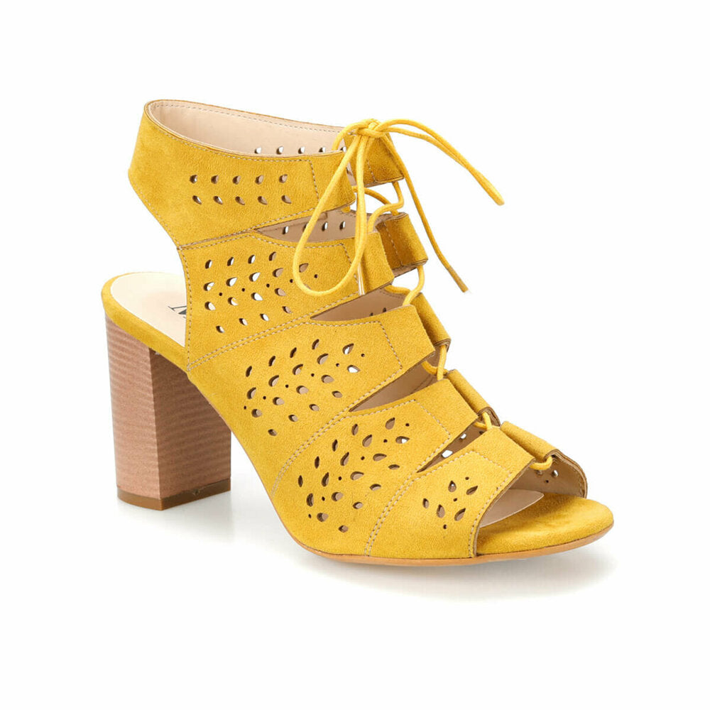 Women's Mustard Heeled Shoes