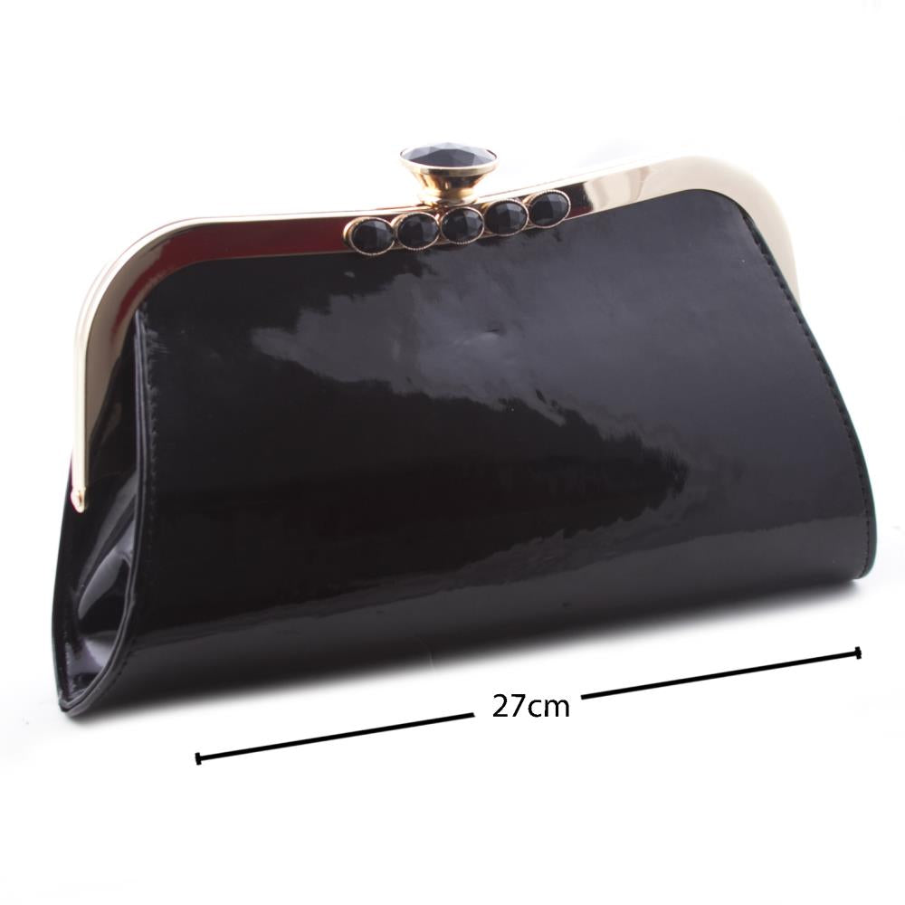 Women's Black Patent Leather Evening Clutch Bag