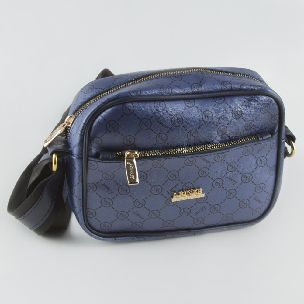 Women's Strappy Patterned Navy Blue Bag