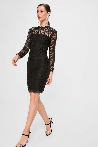 Women's Black Lace Short Dress