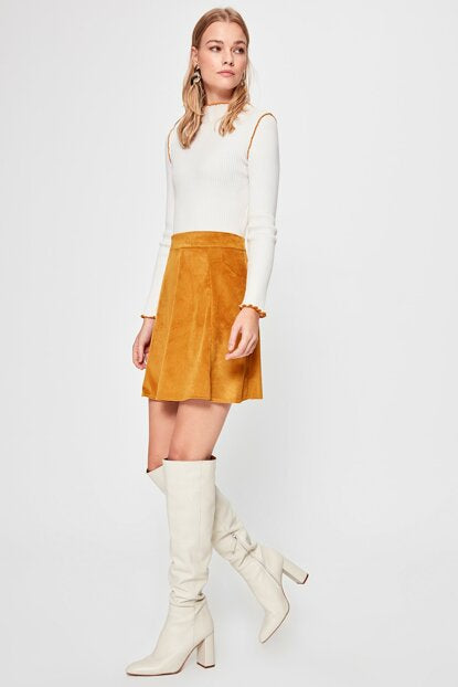 Women's Mustard Short Skirt