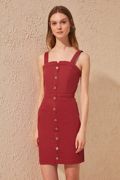 Women's Button Claret Red Gabardine Dress
