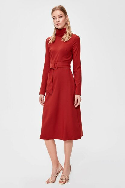 Women's Belted Tile Red Midi Dress