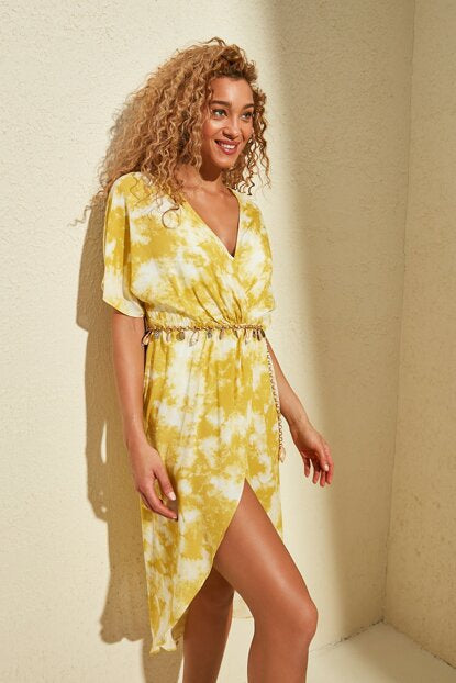 Women's Yellow Batik Pattern Dress